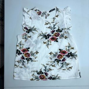 Shein ruffled sleeve blouse floral